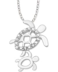 "Macy's - Diamond Mother & Child Turtle 18"" Pendant Necklace (1/10 Ct. T.w.) In Sterling Silver - Lyst"