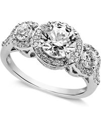 Arabella - Sterling Silver Ring, Swarovski Zirconia Three Stone Ring (3-1/3 Ct. T.w.) - Lyst