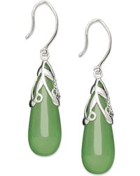 Macy's - Sterling Silver Earrings, Jade Leaf Top Teardrop Earrings - Lyst