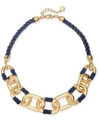 """Charter Club - Gold-tone Link Braided Cord Collar Necklace, 17"""" + 2"""" Extender, Created For Macy's - Lyst"""