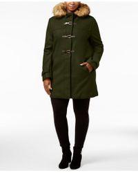 Cole Haan - Plus Size Faux-fur-trimmed Toggle Walker Coat - Lyst