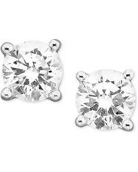 Macy's - Certified Colorless Diamond Stud Earrings In 18k White Gold (1/3 Ct. T.w.) - Lyst
