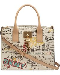 DKNY - Elissa Pebbled Split With Charm Detail Large Satchel, Created For Macy's - Lyst