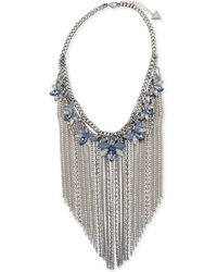 """Guess - Silver-tone Crystal & Stone Flower With Chain Fringe Statement Necklace, 16"""" + 2"""" Extender - Lyst"""