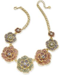 """Charter Club - Gold-tone Multicolor Crystal Flower Statement Necklace, 17"""" + 2"""" Extender, Created For Macy's - Lyst"""