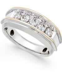 Macy's - Men's Five-stone Two-tone Diamond Ring In 10k Gold (1 Ct. T.w.) - Lyst