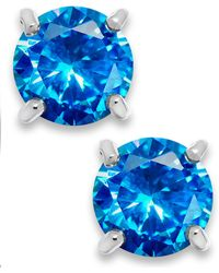 Giani Bernini - Blue Cubic Zirconia Stud Earrings In Sterling Silver (2 Ct. T.w.) - Lyst