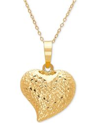 Macy's - Textured Puff Heart Pendant Necklace In 10k Gold - Lyst
