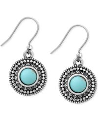Lucky Brand - Silver-tone Reconstituted Turquoise Drop Earrings - Lyst