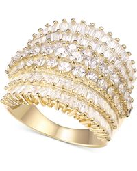 Macy's - Cubic Zirconia Multi-row Cluster Statement Ring In Sterling Silver - Lyst