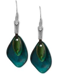 Robert Lee Morris | Silver-tone Layered Sculptural Patina Drop Earrings | Lyst
