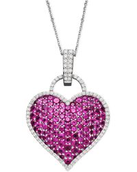 Macy's - 14k White Gold Necklace, Ruby (6-1/2 Ct. T.w.) And Diamond (1/2 Ct. T.w.) Pave Heart Pendant - Lyst