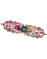 Betsey Johnson - Two-tone Multi-stone Spider & Web Double Finger Ring - Lyst