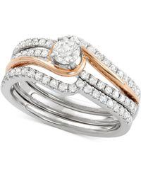 Macy's - Diamond Two-tone Enhancer Bridal Set (7/8 Ct. T.w.) In 14k White And Rose Gold - Lyst