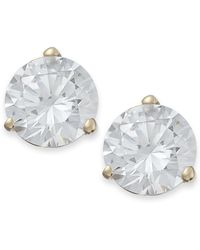 Arabella - 14k Gold Earrings, Swarovski Zirconia Stud Earrings (7mm) - Lyst