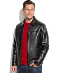 Izod - Leather Bomber Jacket - Lyst