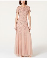 Adrianna Papell - Embellished Mesh Gown - Lyst