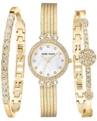 Anne Klein - Gold-tone Bracelet Watch 25mm Gift Set - Lyst
