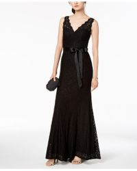 Adrianna Papell - Belted Lace Gown - Lyst