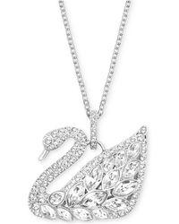 Swarovski - Silver-tone Multi-crystal Swan Pendant Necklace - Lyst
