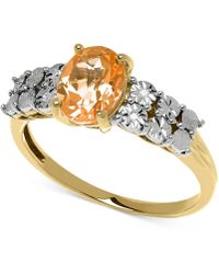 Macy's - Citrine (1 Ct. T.w.) And Diamond Accent Ring In 14k Gold - Lyst