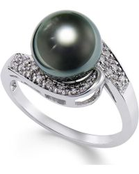 Macy's - Cultured Tahitian Black Pearl (9mm) And Diamond (1/10ct. T.w.) Swirl Ring In 14k White Gold - Lyst