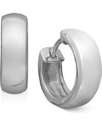 Giani Bernini - Sterling Silver Earrings, Round Dome Hinge Hoop Earrings - Lyst