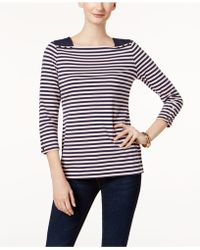 Charter Club - Snap-cuff Square-neck Top - Lyst