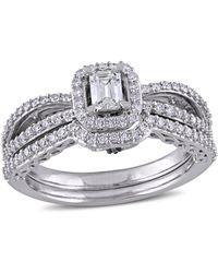Macy's - Certified Diamond (3/4 Ct. T.w.) Emerald-shape Halo Split Shank Bridal Set In 14k White Gold - Lyst