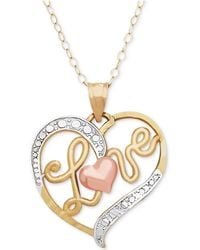 Macy's - Tri-color Love Heart Pendant Necklace In 10k Gold, Rose Gold And White Rhodium-plate - Lyst