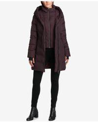 DKNY - Asymmetrical Layered Puffer Coat - Lyst
