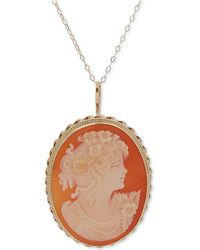 """Macy's - Cornelian Shell Oval Cameo 18"""" Pendant Necklace In 14k Gold - Lyst"""