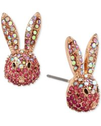 Betsey Johnson - Gold-tone Pink Pavé Bunny Stud Earrings - Lyst