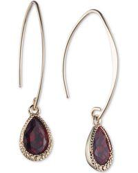 Nine West - Gold-tone Teardrop Stone Threader Earrings - Lyst