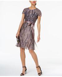 R & M Richards - Sash-belt Sequined Mesh Dress - Lyst