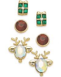 Charter Club - Gold-tone 3-pc. Set Holiday Reindeer & Present Stud Earrings, Created For Macy's - Lyst