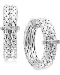 Effy Collection - Diamond Accent Weave-style Hoop Earrings In Sterling Silver - Lyst