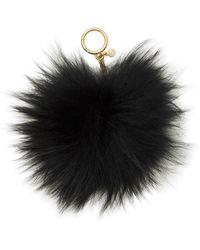 Michael Kors - Large Fur Pom Pom Key Charm - Lyst