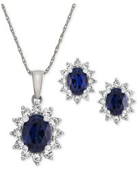 Macy's - Lab Created Sapphire (2-3/8 Ct. T.w.) & White Sapphire (1 Ct. T.w.) Pendant Necklace & Stud Earrings In Sterling Silver - Lyst