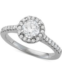 Macy's - Diamond Halo Engagement Ring (1-1/10 Ct. T.w.) In 14k White Gold - Lyst