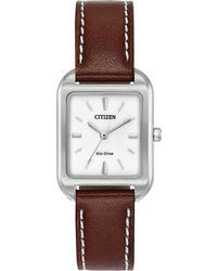 Citizen - Women's Silhouette Brown Leather Strap Watch 23x32mm Em0490-08a - Lyst