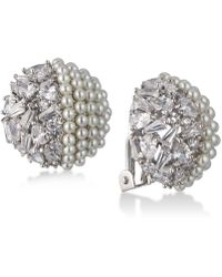 Carolee - Silver-tone Crystal & Imitation Pearl Clip-on Stud Earrings - Lyst
