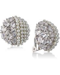 Carolee | Silver-tone Crystal & Imitation Pearl Clip-on Stud Earrings | Lyst
