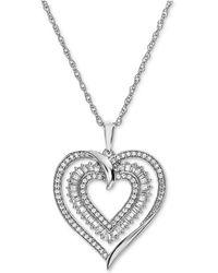 Macy's - Diamond Heart Openwork Pendant Necklace (1/2 Ct. T.w.) In 14k White Gold - Lyst