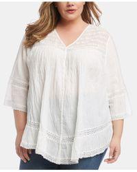 Karen Kane Plus Size Cotton Lace-inset Top - White