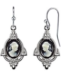 2028 - Silver-tone Simulated Cameo Drop Earrings - Lyst