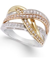 Macy's - Diamond Tri Orbit Ring (1/2 Ct. T.w) In 14k Two-tone Gold And Sterling Silver - Lyst