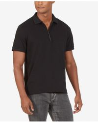 Kenneth Cole - Short Sleeve Zip Polo Shirt In Stretch Pique - Lyst