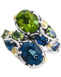Effy Collection Effy® Multi Gemstone (6 Ct.t.w.) Statement Ring In Sterling Silver & 18k Gold Over Silver - Metallic