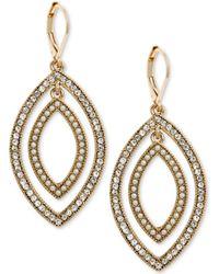 Anne Klein - Gold-tone Pavé & Imitation Pearl Orbital Drop Earrings - Lyst